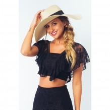 Top Cropped Renda Babado